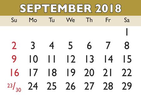 scheduler: 2018 calendar September month. Vector printable calendar. Monthly scheduler. Week starts on Sunday. English calendar