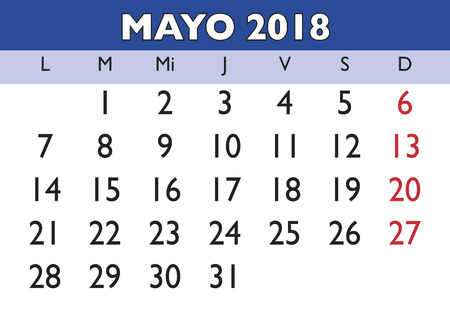 May month in a year 2018 wall calendar in spanish. Mayo 2018. Calendario 2018