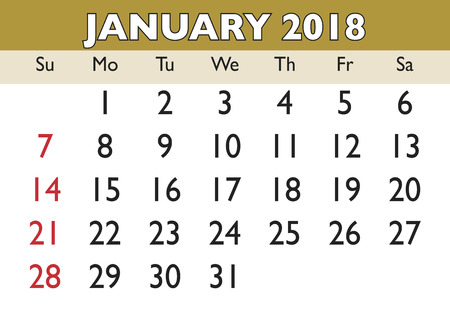 weekly: 2018 calendar January month. Vector printable calendar. Monthly scheduler. Week starts on Sunday. English calendar