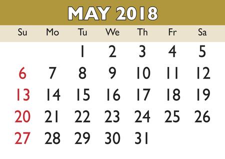 scheduler: 2018 calendar May month. Vector printable calendar.