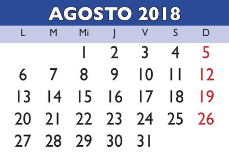August month in a year 2018 wall calendar in spanish. Agosto 2018. Calendario 2018