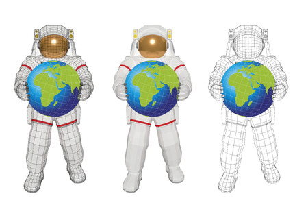 wireframe astronaut in space suit with planet earth in the hands vector illustration