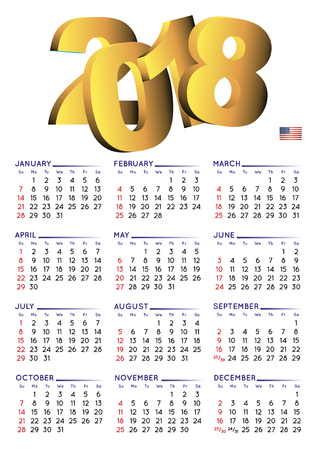 2018 calendar in english. Year 2018 calendar. Calendar 2018. Week starts on sunday. USA format. white background Illustration