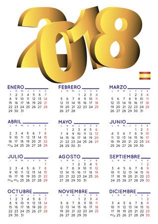 스페인어 달력 2018입니다. 2018 년 달력입니다. 달력 2018. calendario 2018. 흰색 배경