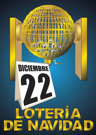 loteria de navidad diciembre. golden lottery cage with numbers. National special christmas lottery. vector illustration