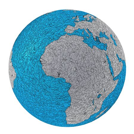 Europe and Africa. futuristic style planet earth made in shiny rough metal blue and silver Stock Photo