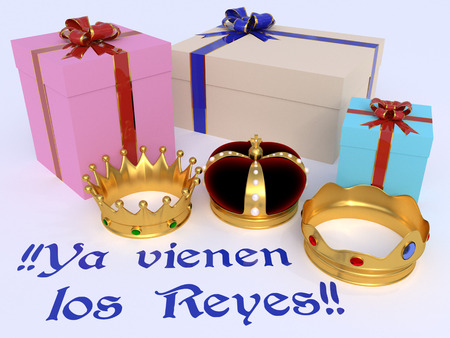 Reyes Magos. Presents for childs in Three wise men day. Spanish tradition. Dia de reyes. Ya vienen los reyes Stock Photo