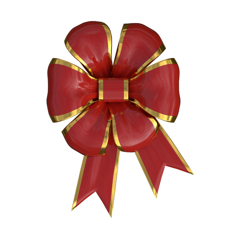 christmas bow with a red and gold ribbon isolated over a white background. 3d render, 3d illustration