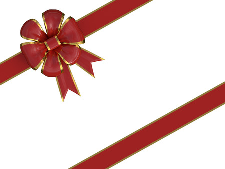 christmas present with a red and gold ribbon isolated over a white background. 3d render, 3d illustration