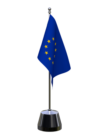 European Union table flag isolated over white. 3d render, 3d illustration