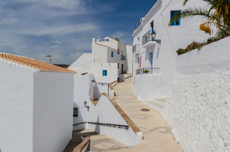 Typical streets on frigiliana. Typical andalusian town with houses painted in white. Costa del Sol, Malaga, Andalusia, Spain, Stock Photo
