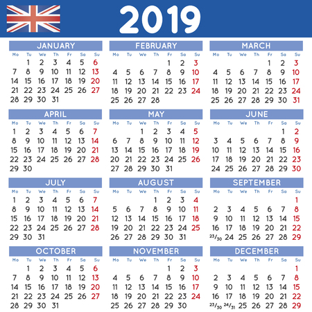 2019 elegant squared calendar english uk year 2019 calendar calendar 2019 week starts