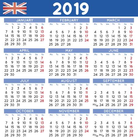 Uk Calendar For 2019 2019 Elegant Squared Calendar English UK. Year 2019 Calendar