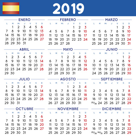 2019 elegant squared calendar in spanish. Year 2019 calendar. Calendar 2019. calendario 2019. week starts on monday
