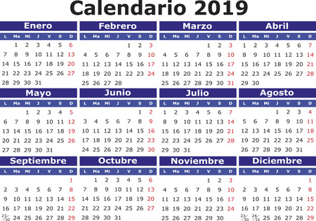 2018 vector calendar in Spanish. Easy for edit and apply. Calendario 2018