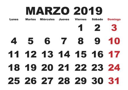 スペイン語で年2019壁カレンダーの3月。マルゾ2019年。カレンダーオ 2019  イラスト・ベクター素材