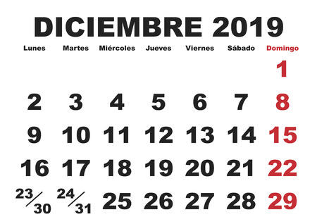December month in a year 2019 wall calendar in spanish. Diciembre 2019. Calendario 2019