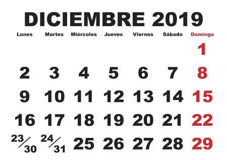December month in a year 2019 wall calendar in spanish. Diciembre 2019. Calendario 2019