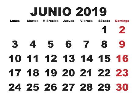 June month in a year 2019 wall calendar in spanish. Junio 2019. Calendario 2019 Illustration