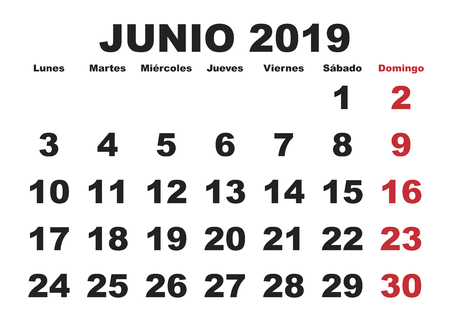 June month in a year 2019 wall calendar in spanish. Junio 2019. Calendario 2019 Ilustração