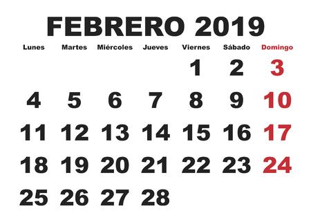 February month in a year 2019 wall calendar in spanish. Febrero 2019. Calendario 2019 Vettoriali