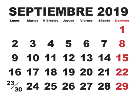 September month in a year 2019 wall calendar in spanish. Septiembre 2019. Calendario 2019 Illustration