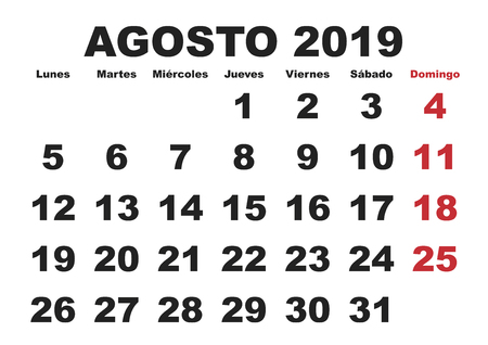 August month in a year 2019 wall calendar in spanish. Agosto 2019. Calendario 2019 Illustration