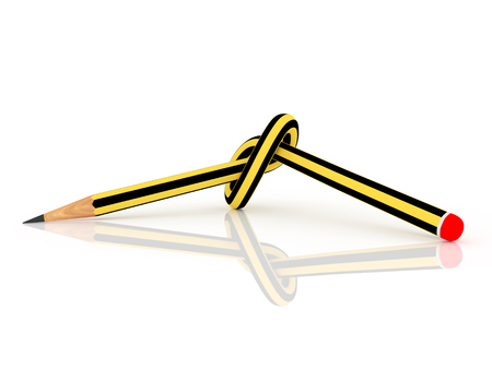 knotted pencil in black and yellow. 3d render, 3d illustration