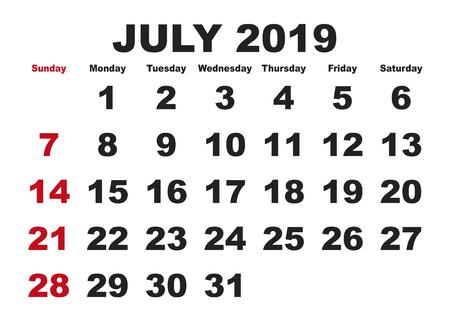 2019 calendar July month. Vector printable calendar. Monthly scheduler. Week starts on Sunday. English calendar