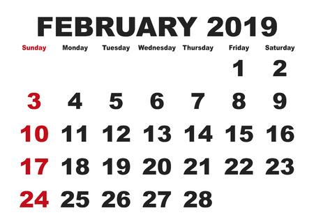 2019 calendar February month. Vector printable calendar. Monthly scheduler. Week starts on Sunday. English calendar