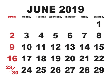 2019 calendar June month. Vector printable calendar. Monthly scheduler. Week starts on Sunday. English calendar