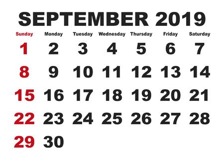 2019 년 달력 9 월. 벡터 인쇄용 일정입니다. 월간 스케줄러. 주일은 일요일에 시작됩니다. 영어 달력 일러스트