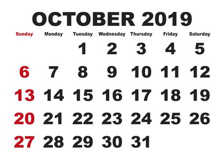 2019 calendar October month. Vector printable calendar. Monthly scheduler. Week starts on Sunday. English calendar