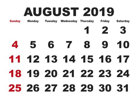 2019 calendar August month. Vector printable calendar. Monthly scheduler. Week starts on Sunday. English calendar Illustration
