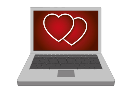 Two valentines hearts showed in the display of a laptop computer. Vector illustration
