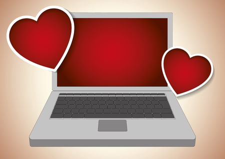Two valentines hearts emitted by a laptop computer. Vector illustration.
