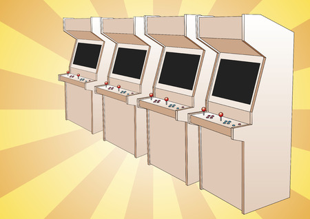 retro style arcade game machine for two players. Retro styled electronic game with two sticks or joysticks. Isolated over white Illustration