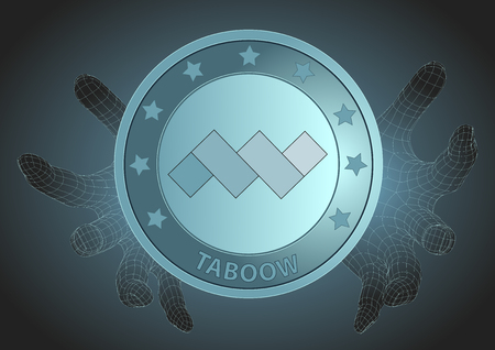 futuristic wireframe human hands protecting taboow. Modern cryptocurrency, blockchain technology and payment system. Vector illustration