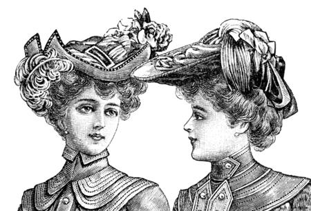 dos mujeres con elegantes sombreros vintage. Ilustración grabada de La Moda Elegante, publicada en Madrid 1902