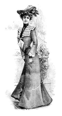 woman wearing elegant vintage dress with hat. Engraved illustration of La Moda Elegante, published in Madrid 1902
