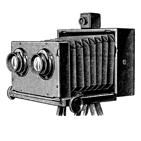 Wooden stereoscopic camera also known as stereo camera. Photographic camera illustration published in Brockhaus Konversations Lexicon 14 edition