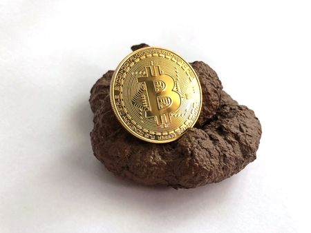 Bitcoin placed onto a fake shit
