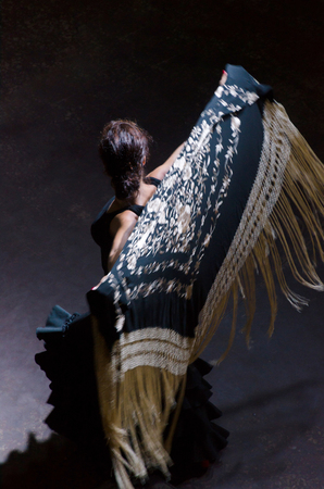 typical spanish flamenco dancer with a black shawl with golden flowers Imagens