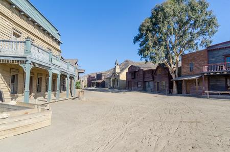 wild west street in a typical town. Film set in tabernas, almeria, spain