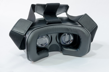 rear view of virtual reality glasses in black over a white background