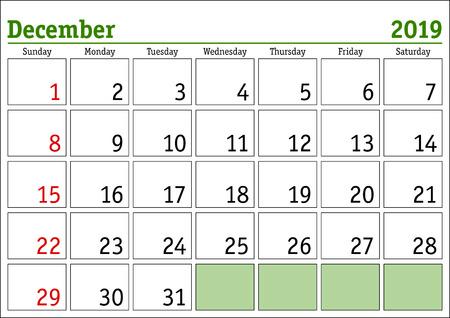 Simple digital calendar for December 2019. Vector printable calendar. Monthly scheduler. Week starts on Sunday. English calendar Ilustração