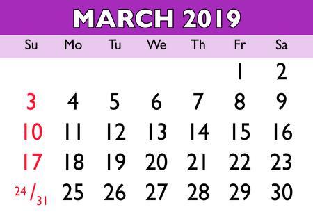 2019 calendar March month. Vector printable calendar. Monthly scheduler. Week starts on Sunday. English calendar