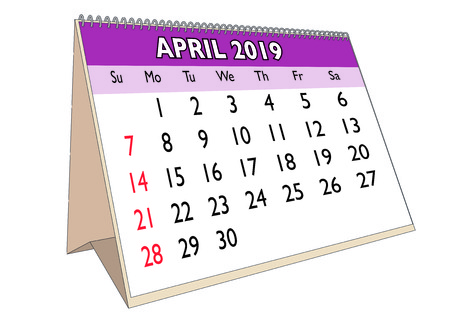 2019 April month in a desk calendar in english. Week starts on Sunday