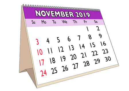 2019 November month in a desk calendar in english. Week starts on Sunday