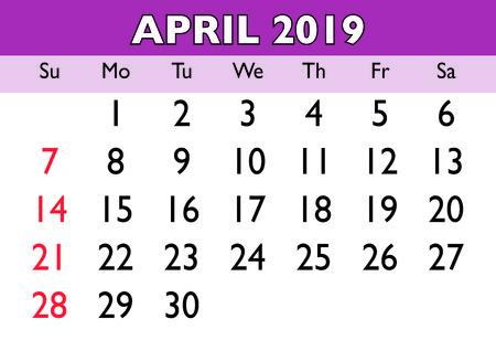 2019 calendar April month. Vector printable calendar. Monthly scheduler. Week starts on Sunday. English calendar Illustration